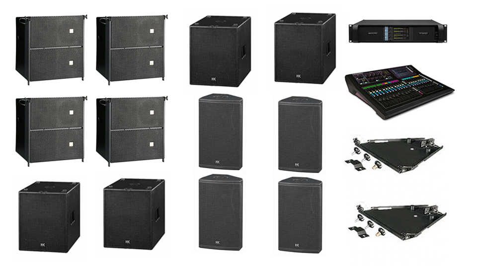 PA Hire Package 7, 4 HK Audio CTA208 Speakers, 4 HK Audio CT118 Sub's, 4 HK audio CT115 Monitors, 1 Allen and Heath GLD-80 Mixer, powered by Lab.Gruppen FP Series with microphones, DI Boxes and cabling included.